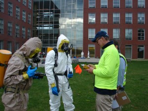 Instructor Corey Briggs (far right) instructs students in last year's Hazardous Waste Operations and Emergency Response training course. Fall River, MA-based Apollo Safety, Inc., is once again a sponsor of the class.