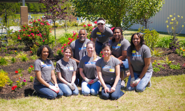 VoiceNation staff volunteers for Ivy Creek Beautification Project. Shown left to right - Davonna Bryant, Alisha Timoftica, Kenny Branch, Ashley Pardue, Josh Merriam, Joyce Wilmont, Kathy Levister and JaShauna Jenkins.