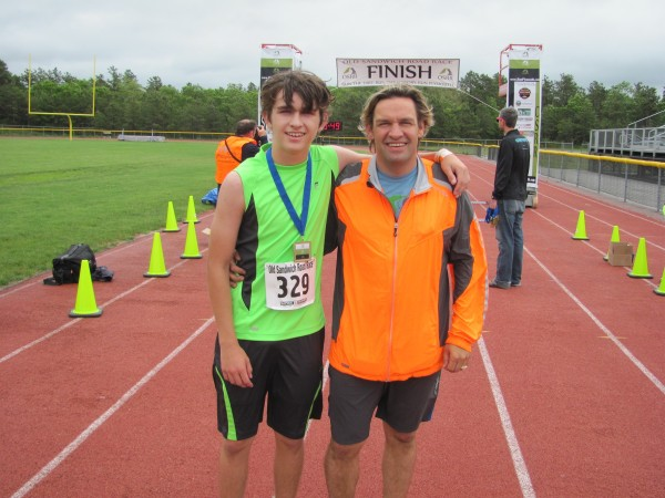 Collyn Brenner and Craig V. Brenner, son and father, work together to manage Plymouth area road races.