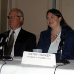 """(L to R) Massachusetts Solar Summit panelists Craig Huntley, Principal at Solect Energy, a major Massachusetts-based solar developer and Kathy Parker, CPA, MST, Partner at Rodman & Rodman, P.C, and a member of the accounting firm's """"Green Team"""" Renewable Energy and Cleantech Practice."""