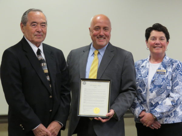 OCES Board President Ted Lang, Mayor Bill Carpenter and Diana DiGiorgi, Executive Director of OCES
