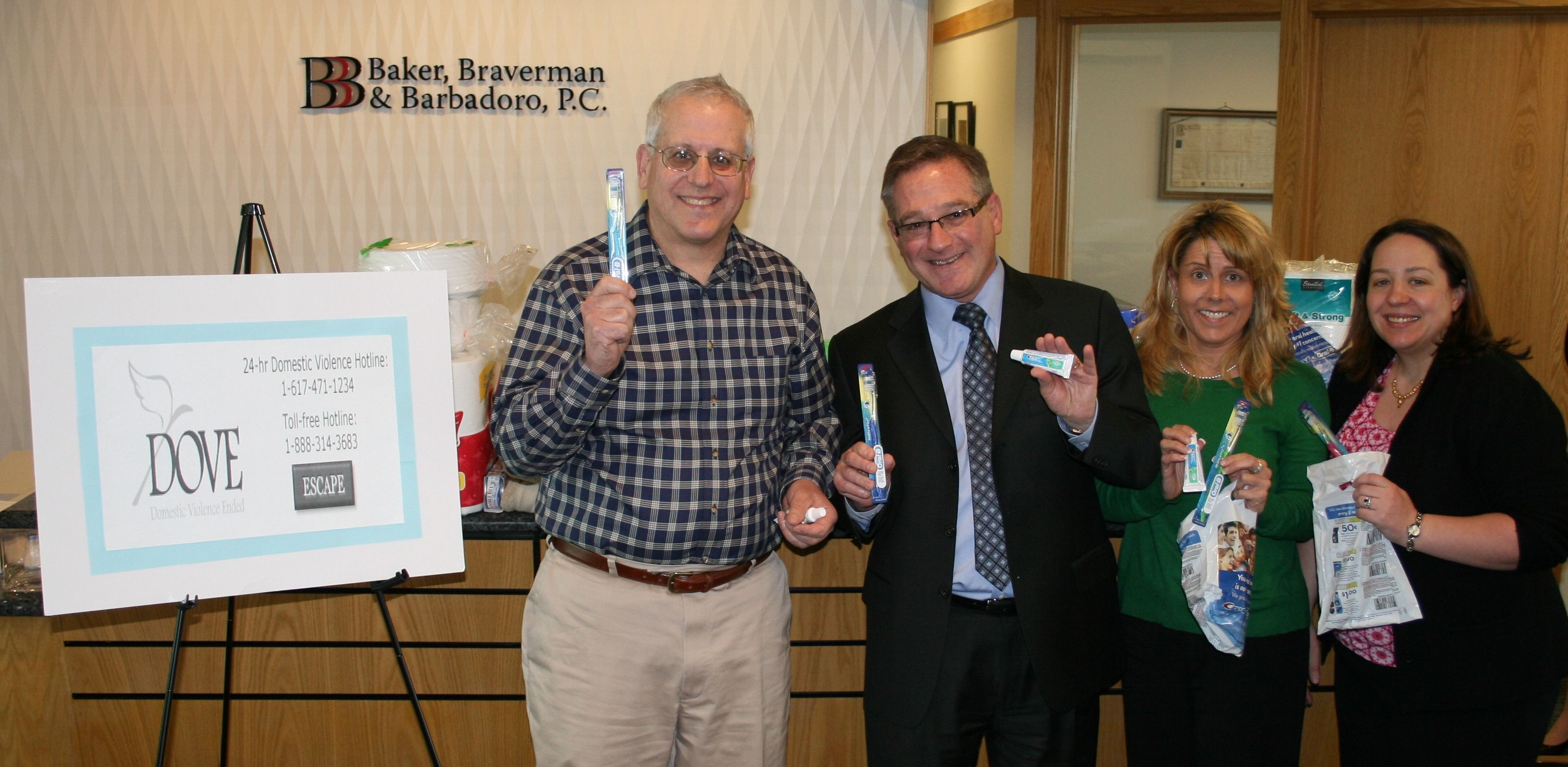 toothboss shares a smile donates toothbrushes to dove drive dr richard wolfert the toothboss donates 144 toothbrush kits to baker braverman