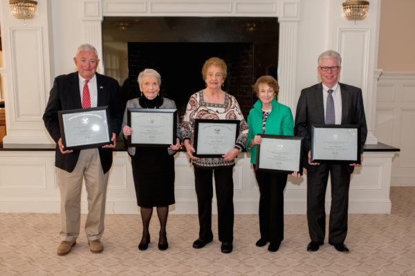 Presidential Volunteer Service Award (PVSA) Recipients (L to R): John Heinstadt, Evelyn Drake, Phyllis Martin, Doris Flecchia, and Joseph Mitchell