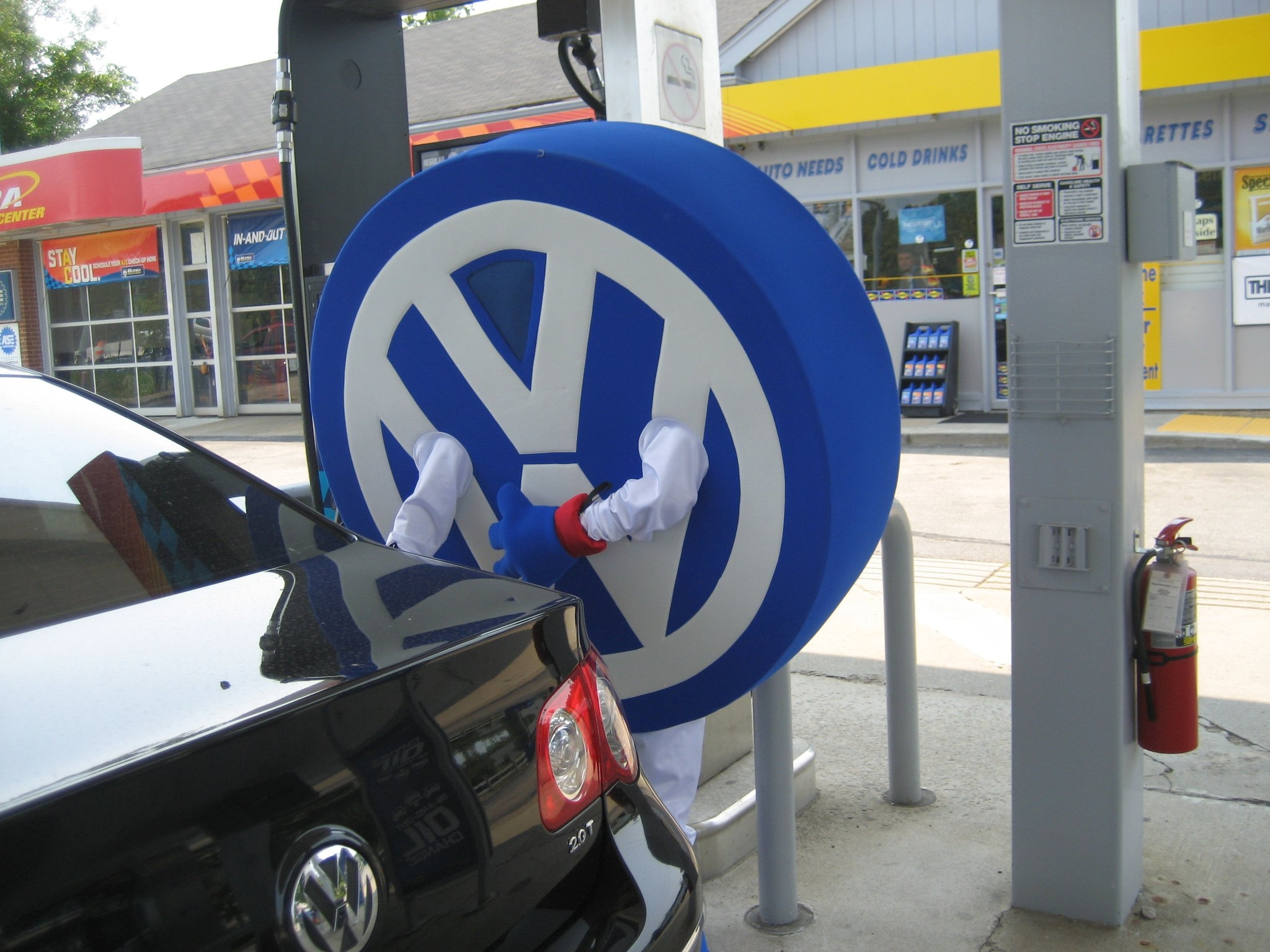No heat wave for Coastal VW man…VW mascot welcomes customers to new Volkswagen dealership on Rt. 53 in Hanover.