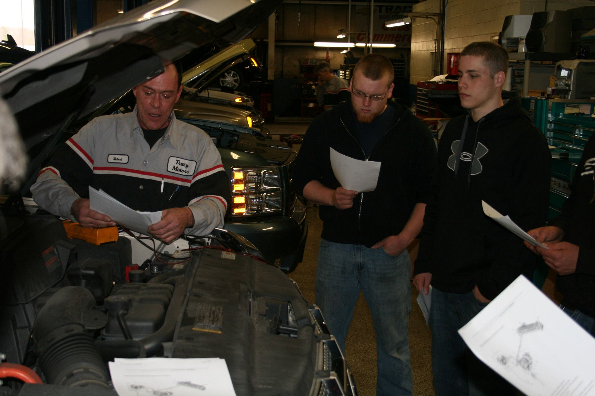 A service call for Plymouth South automotive students…Tracy Chevrolet Cadillac hosts hybrid training for vocational school students.