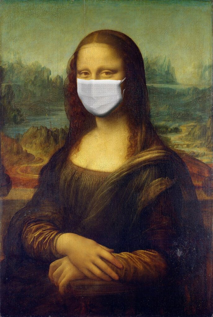 photo of Mona Lisa with a mask on during the COVID-19 crisis